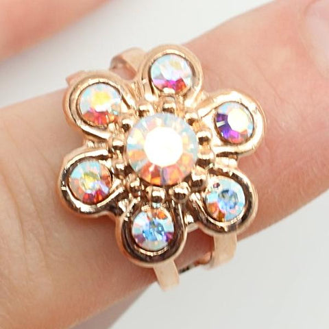 Crystal AB Flower Ring in Rose Gold