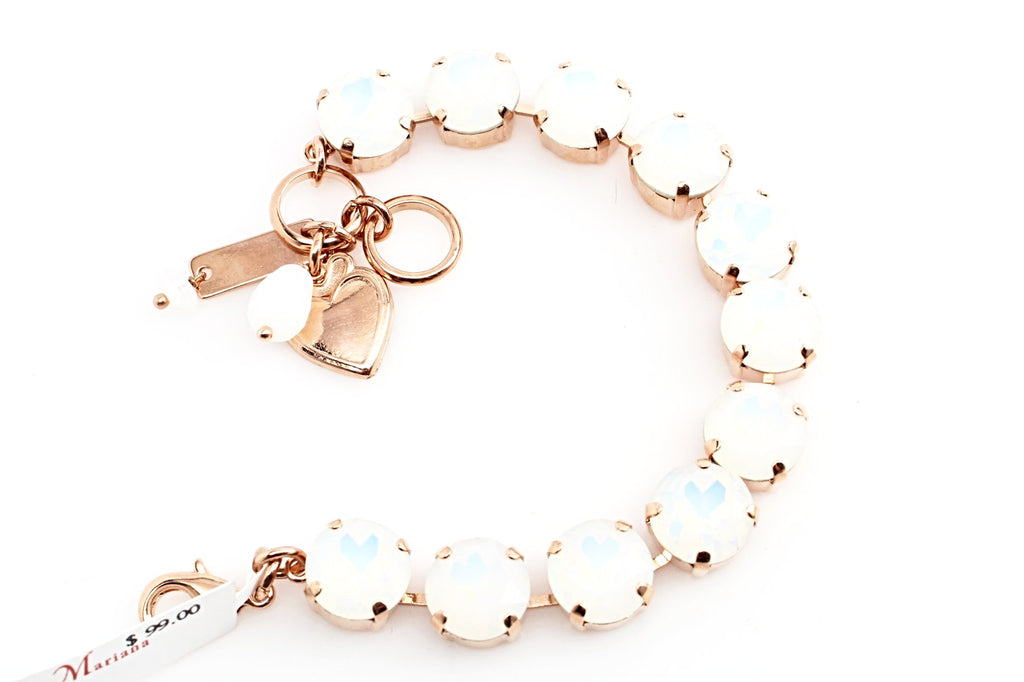 White Opal Large Crystal Bracelet in Rose Gold