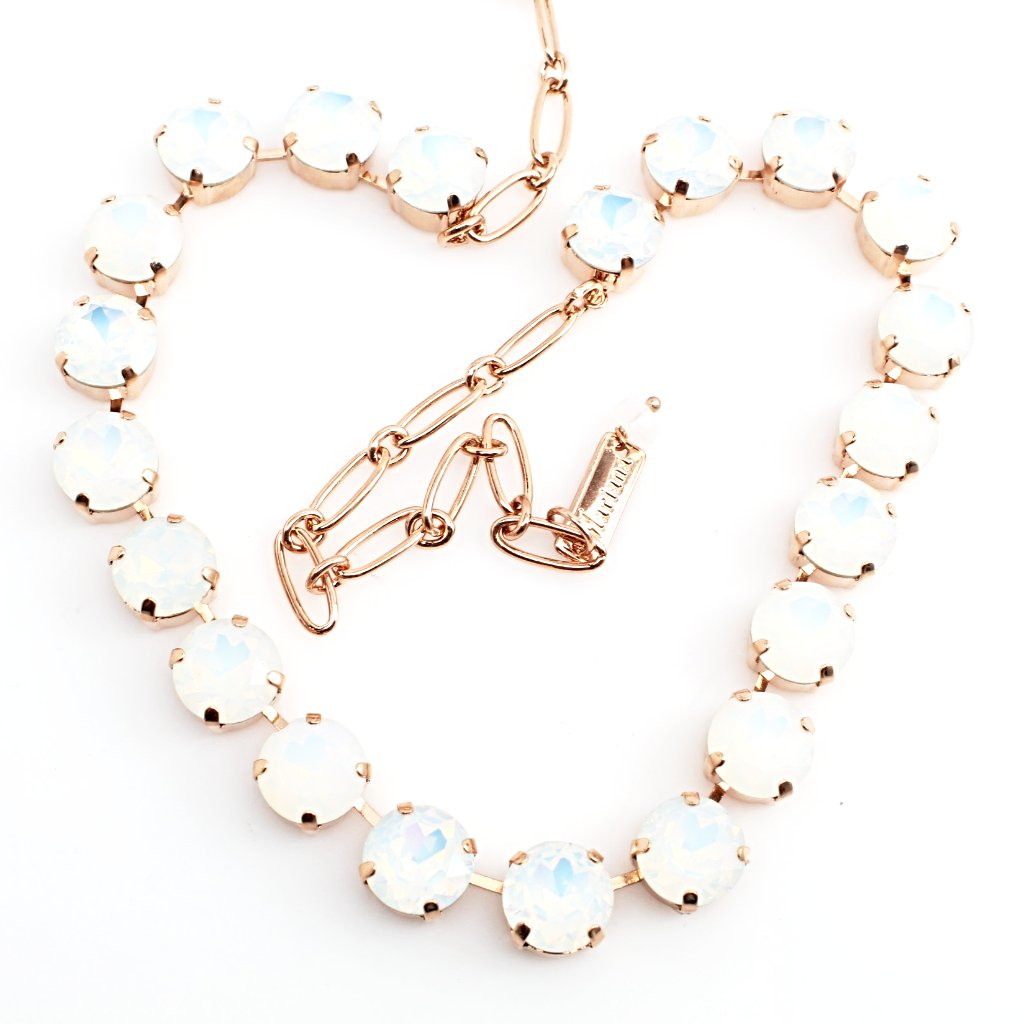 White Opal 11MM Crystal Necklace in Rose Gold