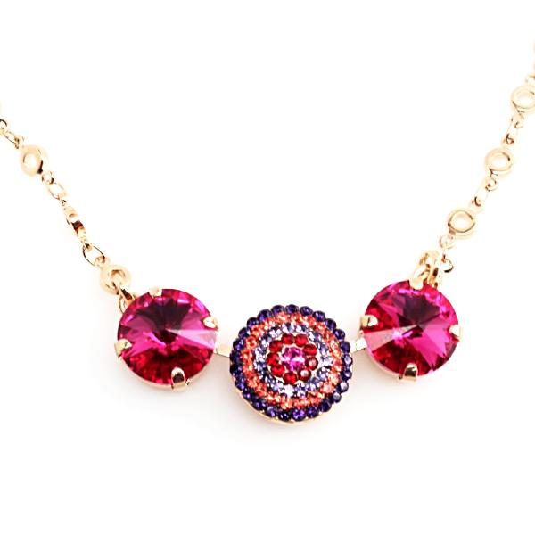 Xenia Collection Rivoli Crystal Necklace in Rose Gold