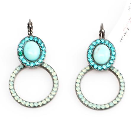 Bahamas Oval and Round Crystal Earrings in Black Gold
