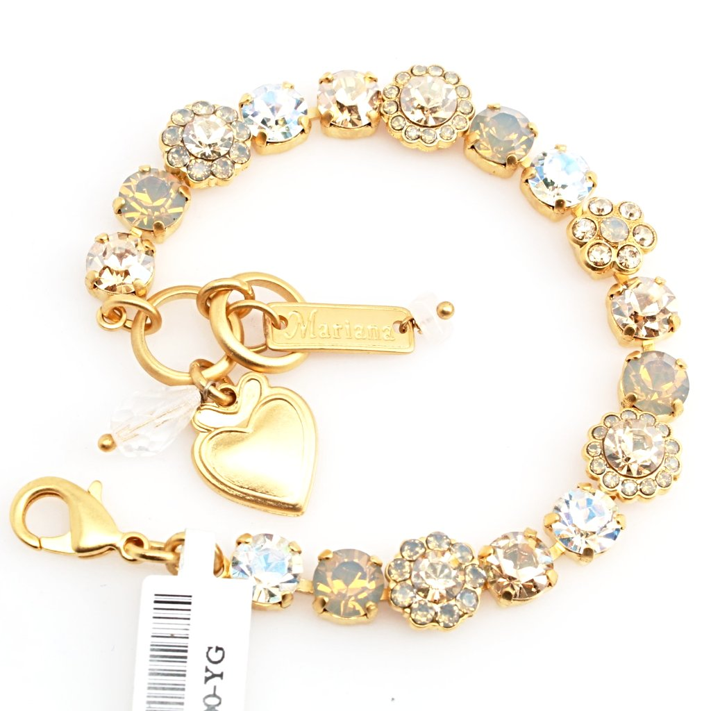 Champagne and Caviar Crystal Flower Bracelet in Yellow Gold