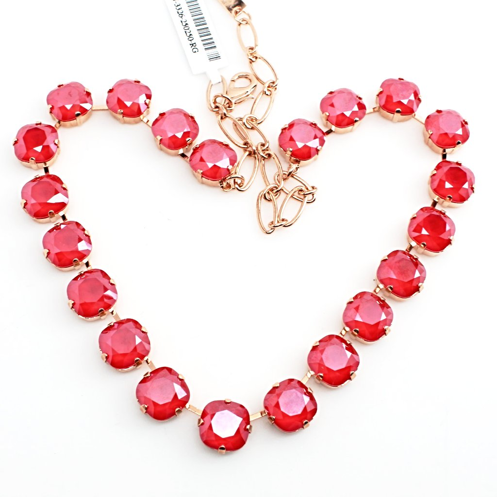 Remarkable Red 12MM Square Crystal Necklace in Rose Gold