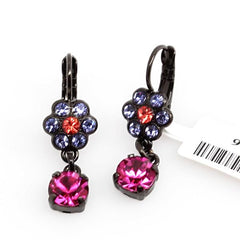 Xenia Collection Small Flower Earrings with Crystal Drop in Black Rhodium