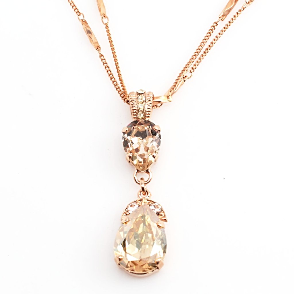 Golden Shadow Double Pear Pendant Necklace in Rose Gold