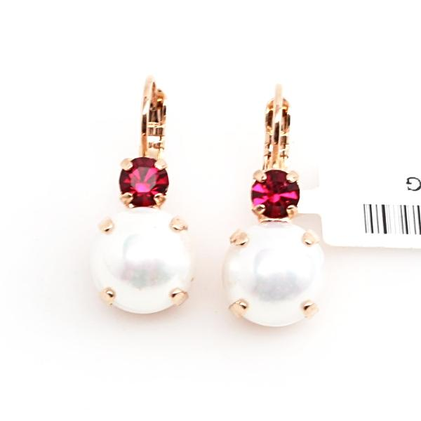 Pearl and Ruby Large Double Crystal Earrings in Rose Gold