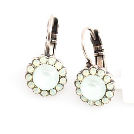 Athena Small Round Crystal Flower Earrings