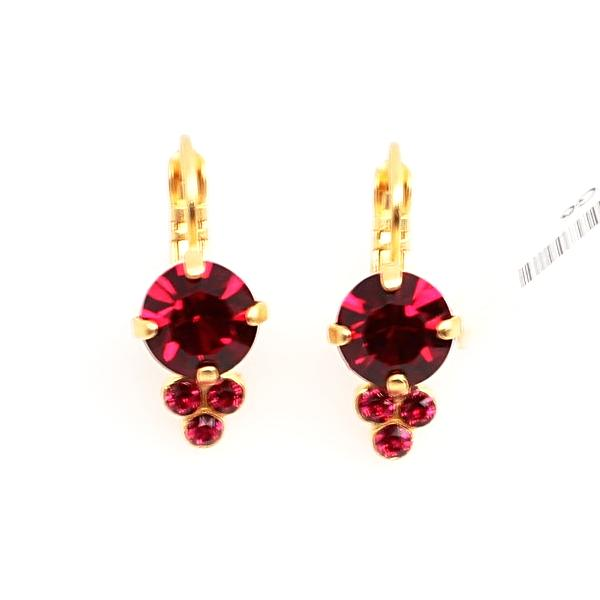 Ruby Crystal Earring with Triple Crystal Accent in Yellow Gold