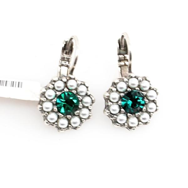 Green and Pearl Crystal Earrings