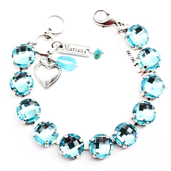 Light Turquoise Cushion Cut Large Crystal Bracelet