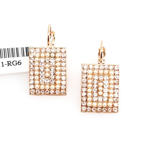 Barbados Rectangular Multi Crystal Earrings in Rose Gold