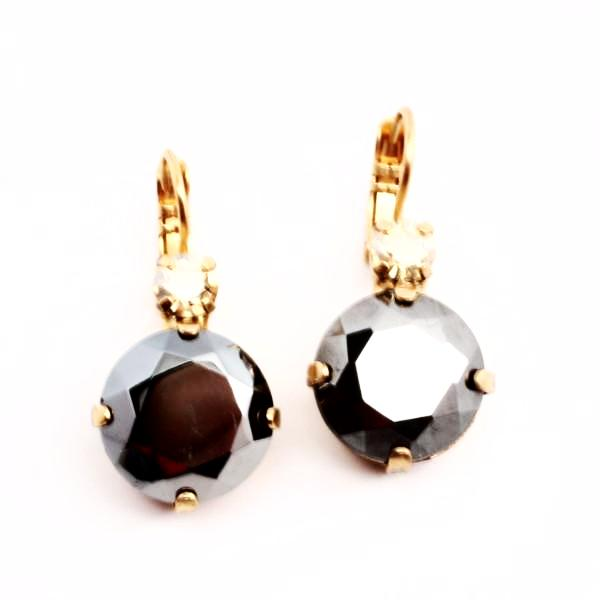 Hematite Large Crystal Earrings in Gold