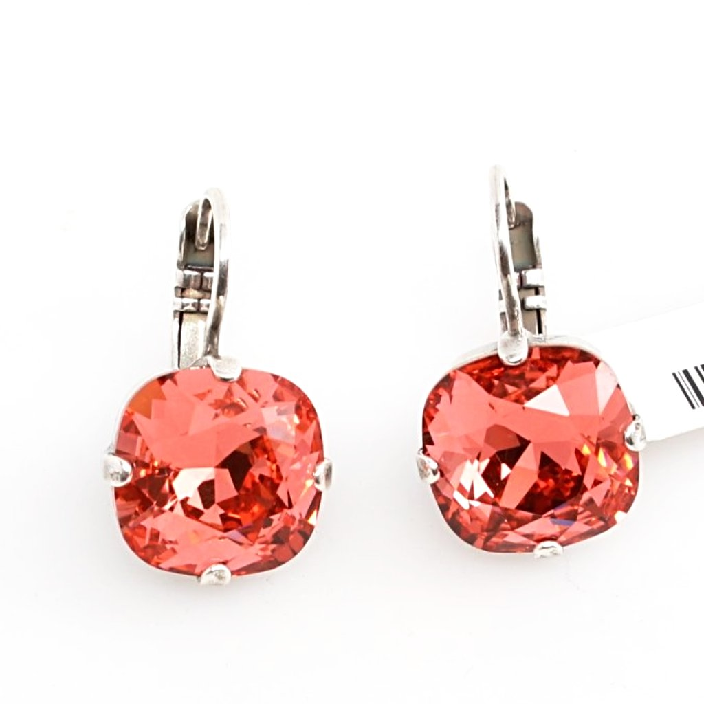 Padparadscha 12MM Square Earrings