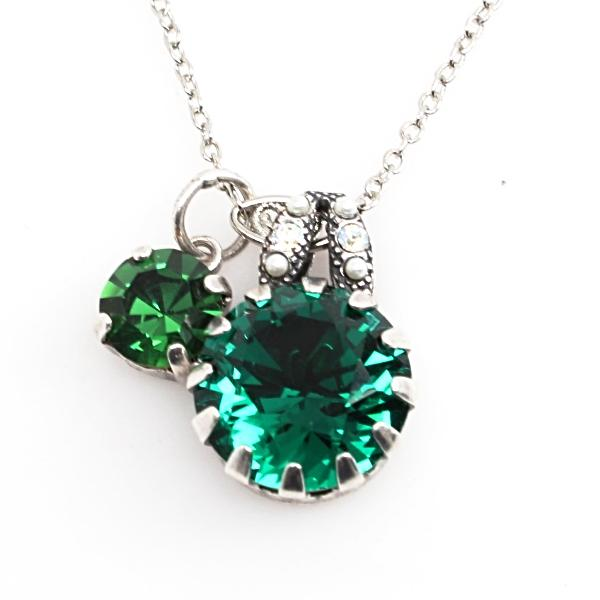 Emerald Pearls Crystal Pendant Necklace