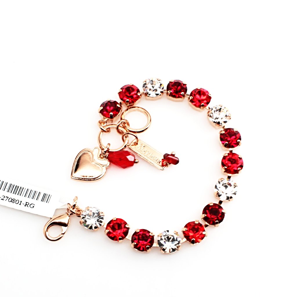 Ruby, Light Siam and Clear Medium Crystal Bracelet in Rose Gold