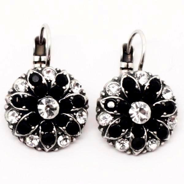 Black and Clear Ornate Crystal Earrings
