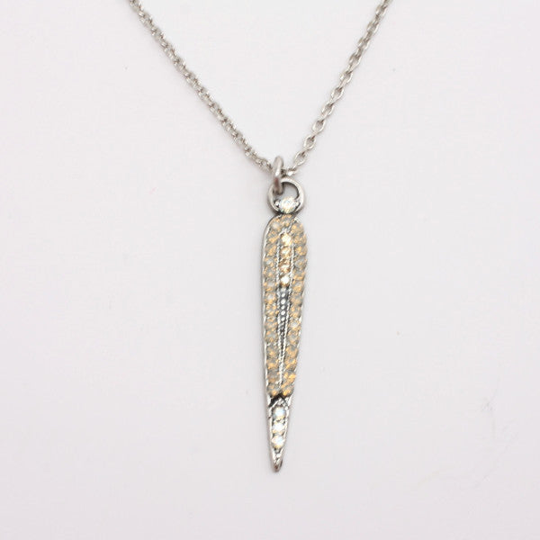 Champagne and Caviar Spike Pendant Necklace