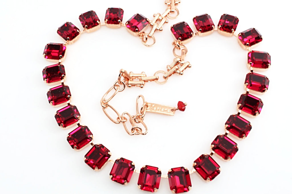 Ruby Red Rectangular Crystal Necklace in Rose Gold