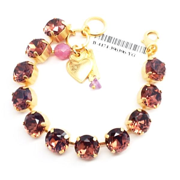 Cyclamen Opal Large Crystal Bracelet in Yellow Gold