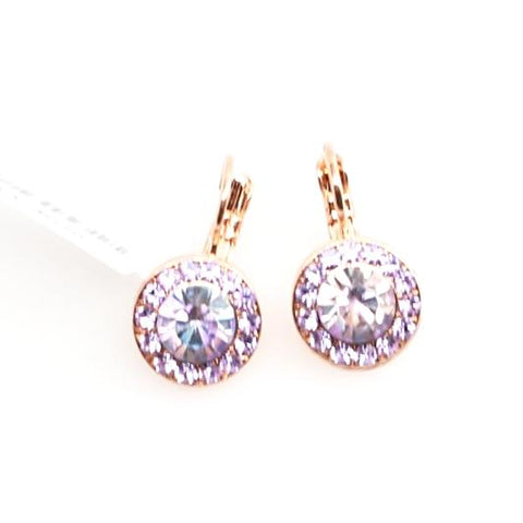 Vitral Light Round Crystal Earrings in Rose Gold