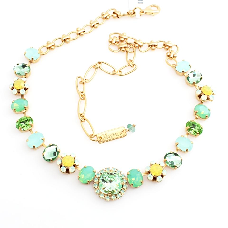 Blondie Collection Round Center Crystal Necklace in Yellow Gold