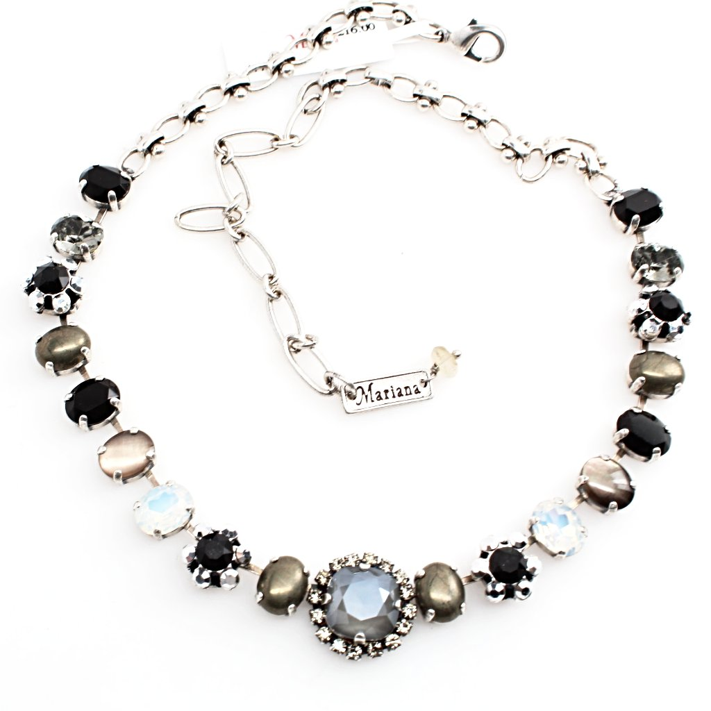 French Silk Oval Center Crystal Necklace