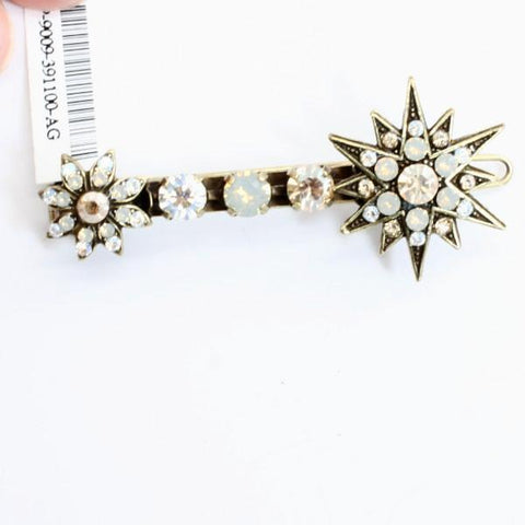 Champagne and Caviar Collection Crystal Barrette in Antique Gold