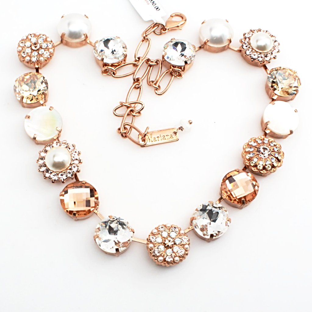 Barbados Gorgeous Extra Large Crystal Necklace in Rose Gold