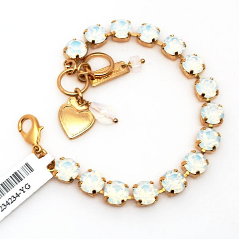 White Opal Medium Crystal Bracelet in Yellow Gold
