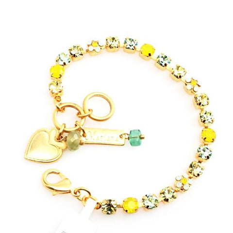 Blondie Collection Petite Crystal Flower Bracelet in Yellow Gold