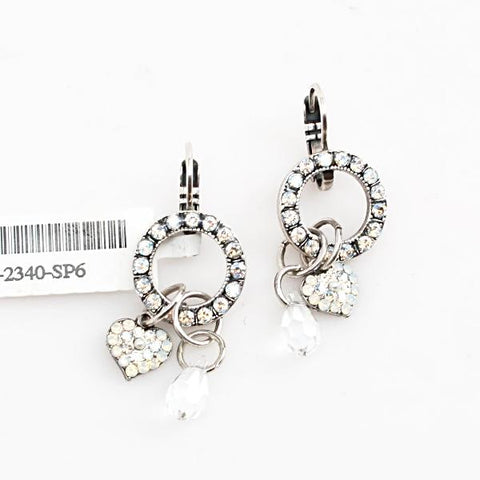Bermuda Collection Heart Charm Crystal Earrings