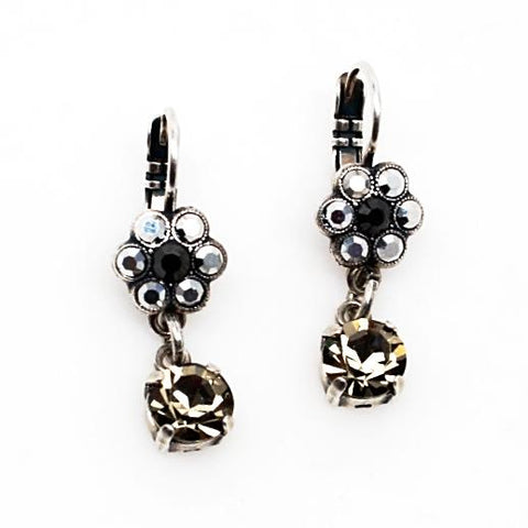 Black Diamond Collection Small Flower Earrings with Crystal Drop