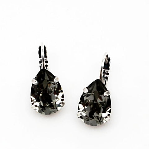 Black Diamond Pear Shaped Earrings