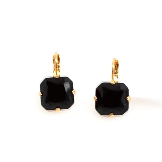 Jet Black 12MM  Square Earrings in English Gold