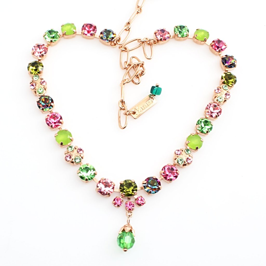 Tutti Frutti Crystal Necklace w/Dangle in Rose Gold