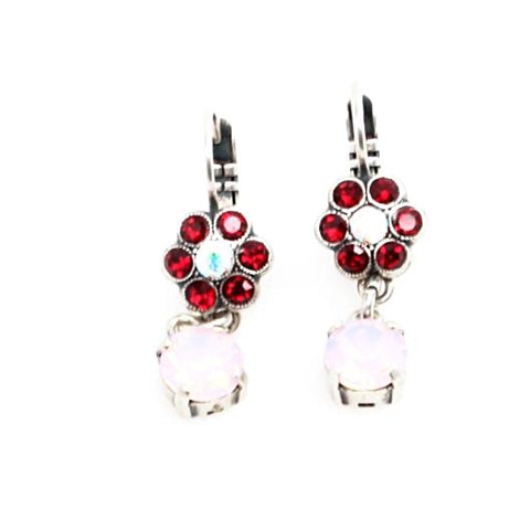 True Romance Collection Small Flower Earrings with Crystal Drop