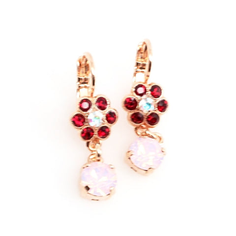 True Romance Collection Small Flower Earrings with Crystal Drop in Rose Gold