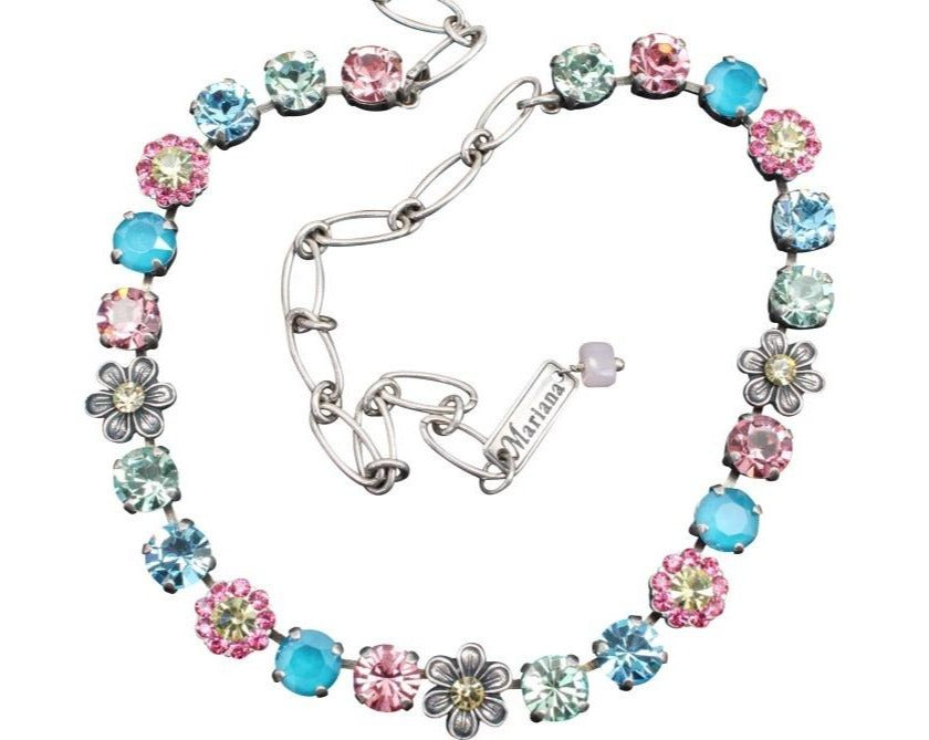 Spring Flowers Ornate Crystal Necklace