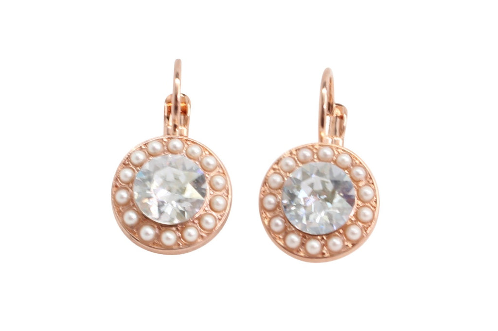 Seashell Round Crystal Earrings in Rose Gold