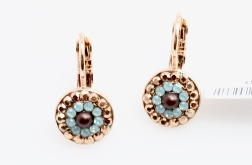 Serai Collection Small Round Crystal Earrings in Rose Gold