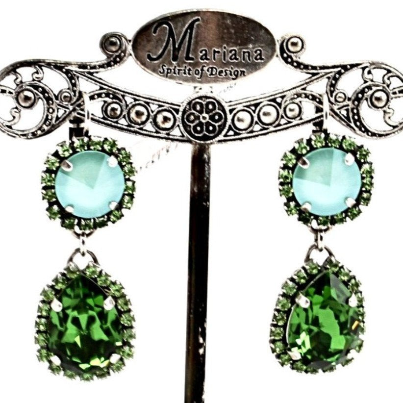 Fern Collection Rivoli and Pear Crystal Earrings