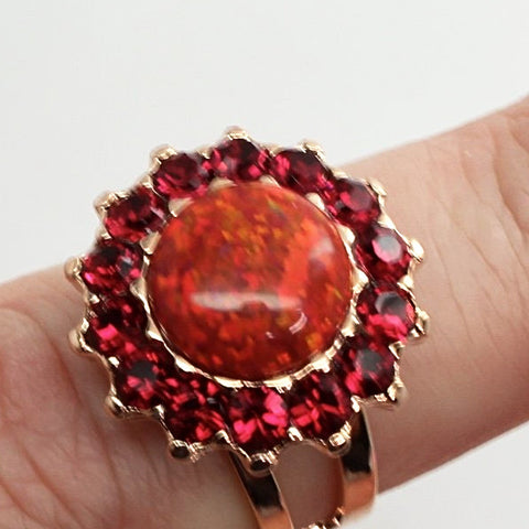 Firefly Large Round Crystal Ring in Rose Gold
