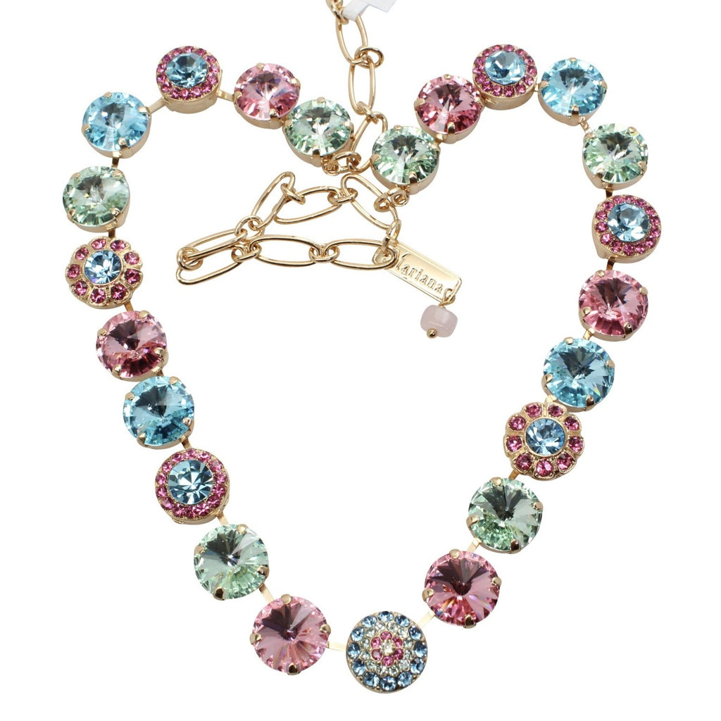 Spring Flowers Collection Large Rivoli Crystal Necklace in Gold