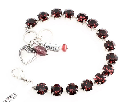 Burgundy Medium Crystal Bracelet