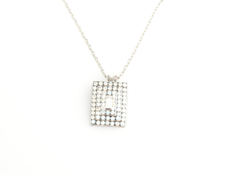 Crystal Moonlight Rectangular Pendant Necklace