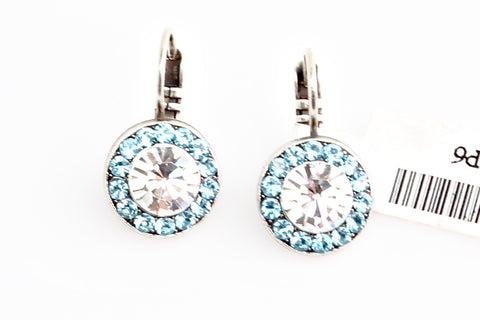 Aquamarine and Clear Round Crystal Earrings