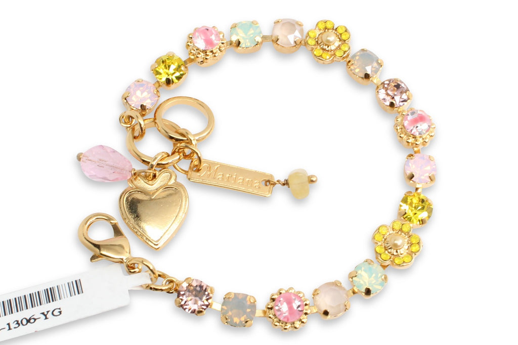 Lantana Small Ornate Flower Bracelet in Gold