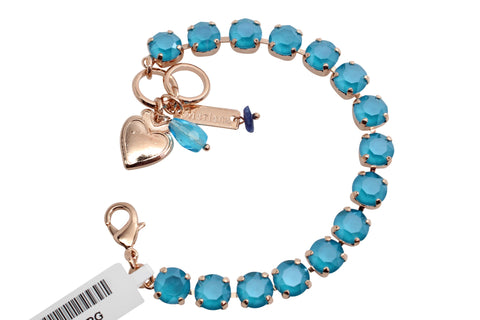 Azure Blue Opal Medium Crystal Bracelet in Rose Gold