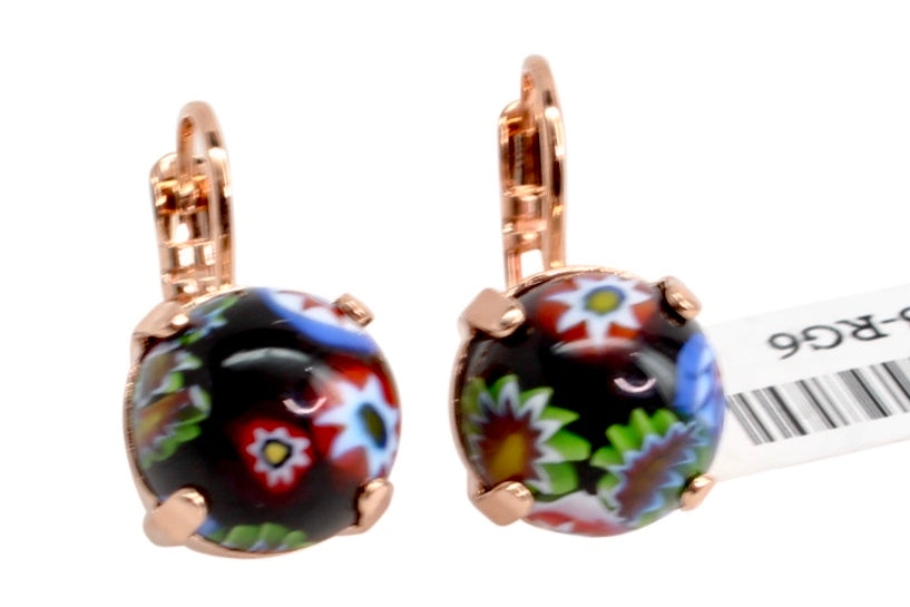 Millefiori 11MM Crystal Earrings in Rose Gold