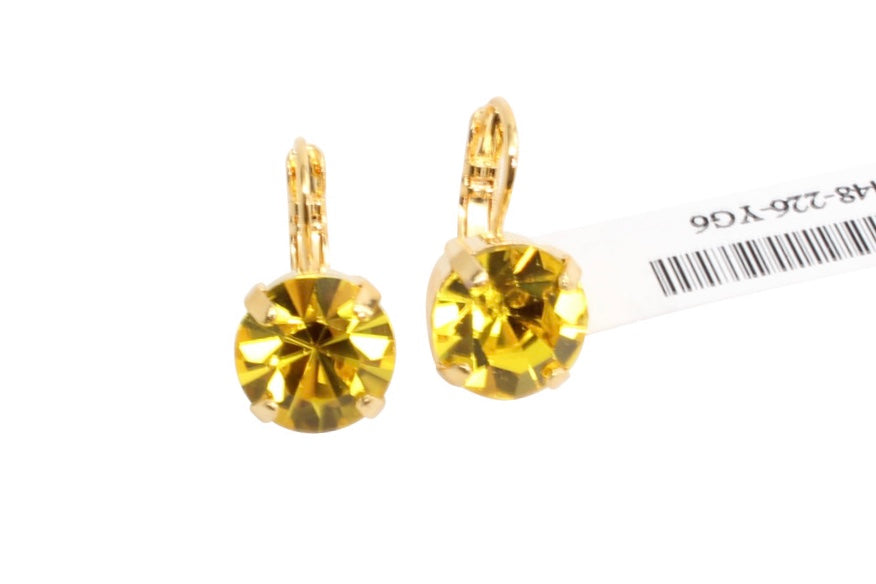 Citrine 11MM Crystal Earrings in Yellow Gold